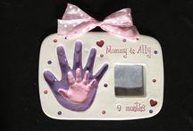 Ceramic Keepsakes - Picture Frame  / Hand and Footprint Picture Frame Keepsakes. Parent & Child Handprint Keepsakes, too!