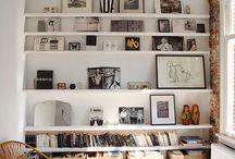Frames on shelves