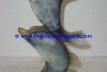 ONYX DOLPHINS FISH COLORED PATCHWORK TUKRI ONYX HANDCARVED