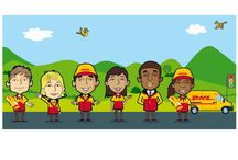 DHL Pension Profiler / I was asked to create backgrounds and a family of characters for DHL for an online investment profiler.