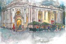 Erika Brandner: Santiago de chile / Drawings and Watercolors from Santiago de Chile
