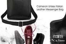 Cameron Black Unisex Italian Leather Messenger Bag