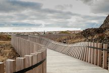 Wooden fences and paths
