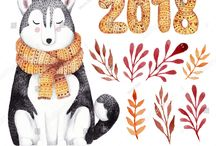 Dogs art new year