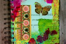 Journal Pages (G-O sites) / Ideas for journal pages that include mixed media, collage & tags from sites beginning with G to O (or artist's name) / by Rachel Bell