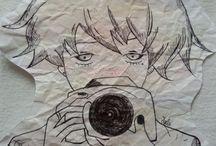 Zeichnungen / ein Fotograf mit Kreide und fineliner