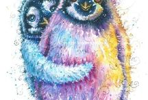 Penguin Art / Penguin painting watercolour and pen By Sophie Appleton. Art for sale £13.95 each, post worldwide . On the 'Art 4 SALE' page of www.sixfootsophie.co.uk