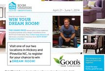 """HGTV Room Crashers Sweepstakes """"Your Chance to win your dream room makeover by Todd Davis"""" / Do you want your room crashed by HGTV host Todd Davis? Visit us today at one of our locations in Pineville and Hickory NC and register for your chance to win your dream room makeover by HGTV host Todd Davis. Good's Home Furnishings. http://www.goodshomefurnishings.com/"""