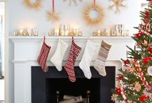 Holiday Ideas / Warm up your holiday mantle. Great use of marquee light JOY sign and coastal decor.