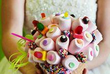 Bukiety ślubne z cukierków