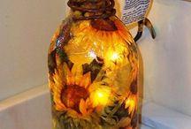 świecąca butelka w słoneczniki