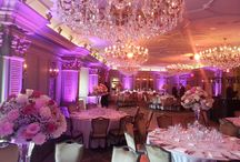 Grand Bohemian Hotel - Asheville, NC / We provided lighting for the gorgeous wedding in the ballroom of the Grand Bohemian Hotel! We used uplighting to highlight the beautiful columns and an amber wash for the ceiling and chandeliers.