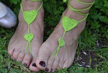 My Etsy shop--FashionableAndSexy / These  satin barefoot sandals will elegantly decorate your feet. it was crocheted with 100% double mercerized cotton thread . One size fits all  Very stylish ,romantic and useful... For day or night and whereever you want. Very stylish, this barefoot sandal  will be very fashionable this spring ,summer and autumn... All clothing in harmony you can use...