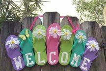 Summer flip flop wreaths