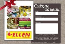 Chèques cadeaux / Pour toutes les occasions, pensez aux chèques cadeaux Ellen Décoration.  C'est simple, choisissez le montant et offrez le à la personne de votre choix !  Disponibles sur demande à la caisse du rayon Couture Haute Couture de votre magasin Ellen Décoration. =D