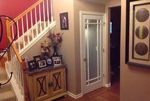 Doors / White glass solid oak door
