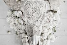 White Gothic Wedding Styled Shoot / Bones and Flowers were the Inspiration for this white, ethereal shoot with a taxidermy twist. Details like orange blossom, wild foliage, bone china, pearls, antlers and lace