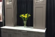 asheville K and B  show. / Gray washed oak and painted cabinetry