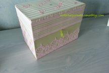 Mon cartonnage / Boîtes diverses recouvertes de papier ou tissu