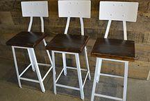 Industrial Bar Stools / Industrial Metal & Steel Bar Stools Made from Reclaimed Barn Wood