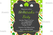 St Patricks Day Green and Orange Shamrocks Party / This collection features a green and white shamrock on a chalkboard frame. The background consists of white shamrocks on green, green and orange shamrocks and green, orange and white stripes.
