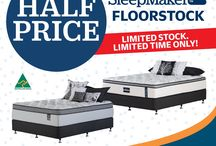 APRIL / Don't Miss Out, Half Price SleepMaker floor stock! You better hurry! Limited floor stock, limited time and only at selected stores. Get into Beds R Us and find your perfect sleep.