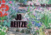 0907 Jo Reitze / Jo's paintings are freely executed, with lyrical mark making and vibrant colours often enhanced by strong tonal contrasts. Close viewpoints with clearly recognizable plants and structures capture the essence of the garden, helping the viewer feel enclosed in a beautiful place. All paintings are completed 'en plein air', so that her responses are much more than a photographic record, but a fusion of all senses.