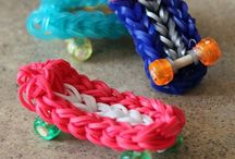 Loom band charms and bracelets.