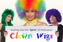 """Getting into the """"Spirit"""" of Halloween : Clown Wigs / Clown wigs, Afro Wigs, and Fun wigs are made with synthetic hair one size fit most and they are fun to wear. Most of the costume wigs are worn during Halloween, but the truth is that they worn for any other occasion like, Birthday Parties, theatrical productions, and other holiday celebrations. You'll never be too old to dress up and have fun. We encourage you to invite friends, family members, and couples to match their costumes with our fun and crazy wigs!"""