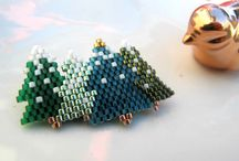 Beaded Christmas / Beaded stars Beaded snowflakes Beaded Christmas ornaments