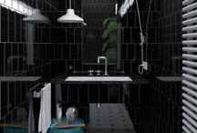 WC schwarze Fliesen
