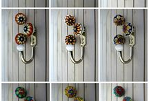 Colorful Ceramic Wall Hooks /  Whether you are renovating your master bath, bedroom, laundry or your kid's room, you can know add color and excitement to your room with vibrant ceramic wall hooks and drawer knobs that match.