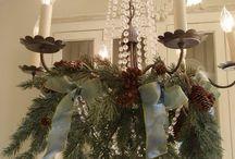 karácsonyi dekorációk csillárra