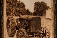 pyrograf stary traktor