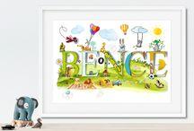 Nursery Decor - Personalise name illustration
