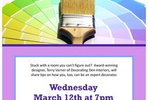 Program: Interior Design with Terry Varner 3/12 /  Stuck with a room you can't figure out? Award-winning designer, Terry Varner of Decorating Den Interiors, will join us at the Elkton Central Library on March 12 at 7pm share tips on how you,too, can be an expert decorator. Call 410-996-5600 x481 to register.
