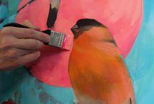 Bullfinches. Canvas 80x80. Acrylic, spray cans.