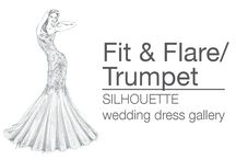 Fit & Flare  / Trumpet Silhouette Wedding Dress Gallery | Roz la Kelin / Fit & Flare / Trumpet silhouette features a gradually-flared skirt and a close-fitting bodice that skims the lines of the body, through the hips. Most of these styles of wedding gowns begin to flare at about mid-thigh, and can be thought of as a sort of hybrid between the mermaid silhouette and the modified A-line silhouette.  To view Roz la Kelin's full collection, head to www.rozlakelin.com