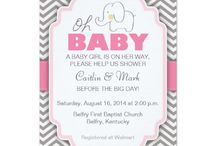 ELEPHANT: Girl Baby Shower Invites / Elephant Baby Shower Invitations and accessories for Girls / Pink & Purple Invites