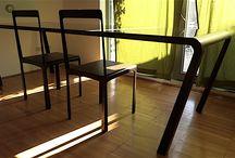 3 Table Line / Progettiamo e produciamo tavoli e sedie in ferro con top in vetro o gres nelle sei linee