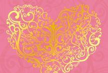 fondo rosa corazón dorado