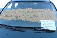 Notes Left On A Windshield / These are some funny notes that drivers have left on the windshield's of others.