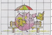 Cross stitch - pigs