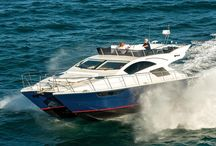 Mares 45 Power Catamaran / With a striking navy blue hull and open flybridge, it projects a classically nautical image while offering a sporty look up top