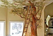 duvara yapılan ağaç cizimleri