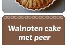 cake met peer en walnoten