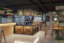 Кафе в Эко стиле / Проектирование нового кафе быстрого питания Sezam с национальной восточной кухней. Основная задача – создание уютного пространства в Эко стиле, с открытой кухней и открытым технологичным процессом. Эко стиль в интерьере кафе это ассоциации с приятным отдыхом на природе, свежими продуктами, деревом и растениями.