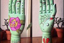 Wooden Hands / Articulated wooden hands - ooak - mixed media