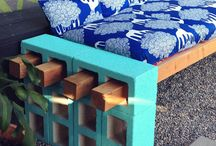 Bench / Garden bench with brick