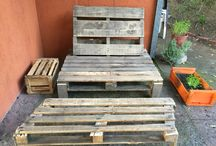 DIY pallet seat / Our first pallet seat made with two recycled pallets. Three hours of fun work with the best partner